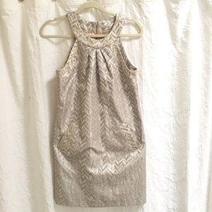 Trina Turk 4 Metallic Party Dress Silver Gold